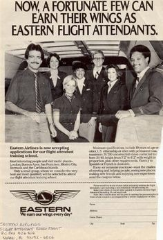 Eastern Airlines  (Awesome FAs....had the opportunity to fly with them)