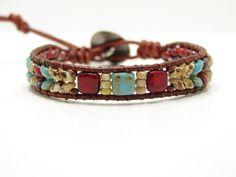 Leather Cord Bracelets, Beaded Wrap Bracelets, Beaded Leather Wraps, Braided Leather, Super Duo Beads, Southwest Style, Metal Buttons, Canes, Buffalo