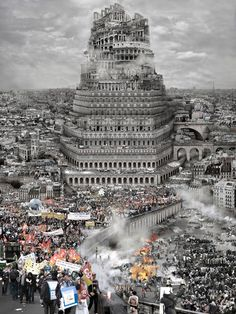 'Tower of Babel': Du Zhenjun's set of paintings and photographs nicely illustrate the Babylonian basis of modernity Turm Von Babylon, Utopia Dystopia, Tower Of Babel, Collage Maker, Tours, Find Picture, Source Of Inspiration, Photo Manipulation, Art World