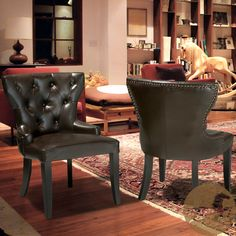 Christopher Knight Home Kingdom Leather Accent Chairs (Set of 2)   Overstock.com