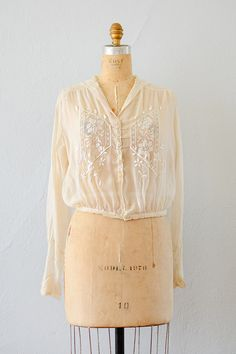 Vyne In Hampshire Blouse | Edwardian sheer crepe lace embroidered blouse | Adored Vintage