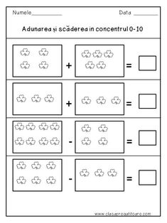 Adunarea si scaderea in concentrul 0 - 10 Letter Tracing Worksheets, Printable Alphabet Letters, School Worksheets, Worksheets For Kids, Addition And Subtraction Worksheets, Teen Numbers, Activities For Teens, Small Letters, Preschool Math