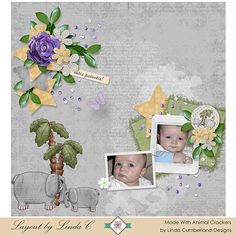 This page was made with Animal Crackers by Linda Cumberland Designs.  This kit is perfect for scrapping photos of young children.  On sale now for 40% to 50% off but Save An Additional 15% off with this coupon code - AnmlCrkr_Extra15