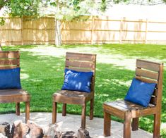 We are lucky enough to have a fire pit in the backyard.I needed to build some chairs Here is how I made these super easy DIY outdoor chairs!