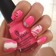 Pink,white, and gray nails