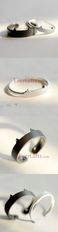 Silver Ring Cat Kitty Minimal Ring Statement Ring Adjustable Ring Wrap Gift Jewelry Accessories Women