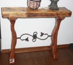 Consola cu blat din lemn masiv de brad antichizat, cu aspect rustic, pirogravat pe laterale. Picioarele sunt din lemn stratificat frezat manual cu un ornament de fier forjat. Aspectul natural te transporta intr-o stare de calm si relaxare. Dimensiuni: Inaltime : 83cm ; Latime : 100cm ; Adancime : 32cm. woodynamics@yahoo.com Entryway Tables, Console, Stuff To Buy, Furniture, Home Decor, Decoration Home, Room Decor, Home Furnishings, Home Interior Design