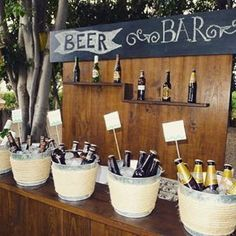 Boda buffet or a a bottled soda bar 40th Birthday Parties, 30th Birthday Ideas For Men, Beer Birthday Party, Mexican Party, Beer Bar, Partys, Bar Drinks, Drink Bar, Rustic Wedding