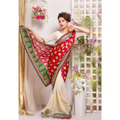 Designer georgete saree with kesariya border. Amazing fusion of contemporary and traditional is ready to enliven your choice and style.