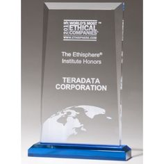 """Our Blue Base Acrylic Award features a 3/4"""" clear acrylic piece mounted on a blue acrylic base. A6983 is 7.75"""" tall, A6984 is 8.75"""" tall, and A6985 is 9.75"""" tall and all come with free personalized engraving."""