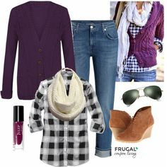Frugal Fashion Friday Purple Fall Outfit - Fall Fashion using Plum. Polyvore Outfit. Purple Fall Outfits, Purple Cardigan Outfits, Cool Outfits, Casual Outfits, Autumn Winter Fashion, Fall Fashion, Womens Fashion, Casual Fall, Work Fashion