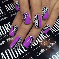 I would do one accent nail on each hand and just purple on others.  Pretty!