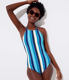 f77411fa08 Shop LOFT for stylish women's clothing. You'll love our irresistible LOFT  Beach Striped. Halter One Piece SwimsuitSwimsuit ...