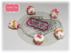 Kawaii Fashion Accessories 5Lovely Polka Dot Cupcake Charms with Silver Bracelet