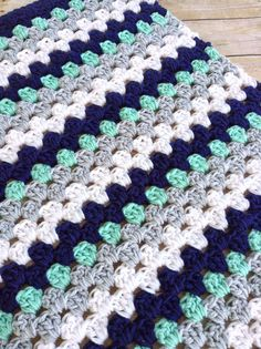 Nautical crochet blanket/ navy white mint green and grey