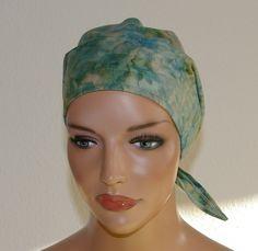 """Kopftücher - Kopftuch """"Ella"""" in blau-beige - ein Designerstück von beHUETE-dich bei DaWanda"""