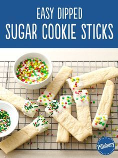 Fun, easy and delicious! Dip into the holidays one cookie at a time! This recipe is the perfect activity for your kids to join in. Easily make them with Pillsbury sugar cookie dough – simply roll it out into a rectangle, cut with a pizza slicer, bake and dip into frosting with a candy coating.