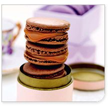 Chocolate macarons with salted caramel!