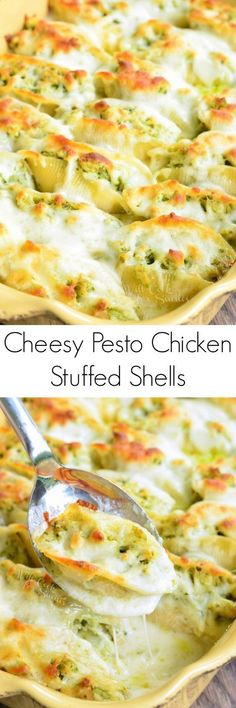 Cheesy Pesto Chicken Stuffed Shells ~ pasta shells stuffed with a mixture of ricotta cheese and pesto chicken, baked in a simple white sauce, and topped with extra Mozzarella cheese!