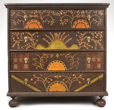 stencil something similar: William and mary, c. 1710, Antique Furniture_Chest of Drawers
