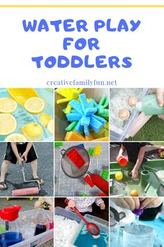 Water Play Ideas for Toddlers – Creative Family Fun Splash and have fun with one of these water play ideas for toddlers. You can play indoors and outdoors with these fun sensory play ideas. Toddler Sensory Bins, Baby Sensory, Toddler Play, Toddler Learning, Baby Play, Sensory Play, Toddler Preschool, Toddler Crafts, Water Activities