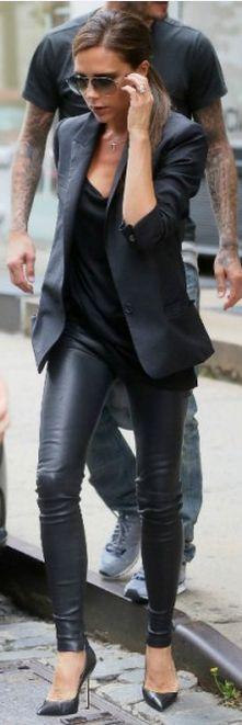 Who made  Victoria Beckham's black blazer, sunglasses, and black pumps?