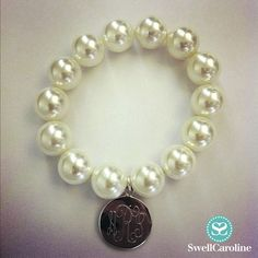 Elegant and simple, the Soon Monogram Bracelet {Mother of Pearl & Sterling Silver}