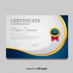 Certificate template in modern style Free Vector Certificate Of Recognition Template, Certificate Layout, Certificate Background, Certificate Of Achievement Template, Certificate Design Template, School Certificate, Poster Background Design, Vector Background, Powerpoint Design Templates