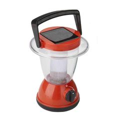"""Solar Wholesale Solar Powered Camping Lantern or Night Light for Kids. 6.3"""" tall, red color."""