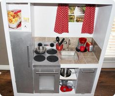 play kitchen from old entertainment center | play kitchen ...