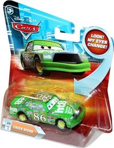 CHICK HICKS #24 w/ Lenticular Eyes Disney / Pixar CARS 1:55 Scale Die-Cast Vehicle by Mattel. $26.99. Age 3+. 1:55 Scale Die-Cast Car. Chick Hicks has lenticular eyes!. Number #24 of the Series 2 die cast collection. Vehicle is green with HTB (Hostile Takeover Bank) logo on the hood. Changing lenticular eyes bring all the fun of Disney Pixar Cars characters to life-- just in time for your next road adventure! This 1:55 scale Die-Cast Car is big on personality and detail -- and f...
