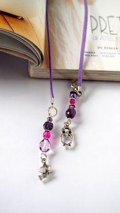 Bookmark for books in purple  Beaded by VitezArtGlassDesign