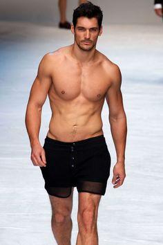 "On the Dolce & Gabbana spring/summer 2012 menswear catwalk.   [link url=""http://www.vogue.co.uk/blogs/david-gandy/""][b]READ DAVID GANDY'S BLOG HERE[/b][/link]"