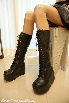 3.5'platform Black knee high lace-up boots shoes gothic lolita puck rock emo EGL | eBay