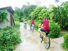 Faire du vélo pour découvrir la campagne paisible, près de Hue.