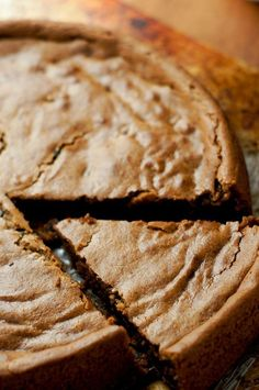 Gluten Free Vegan Chocolate Chip Cookie Cake | thumb in plum.