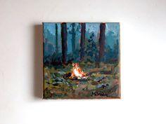 original campfire painting woodland painting small by marleenart