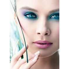 Teal and Purple For Eyes ❤ liked on Polyvore featuring models, backgrounds, faces, beauty and makeup
