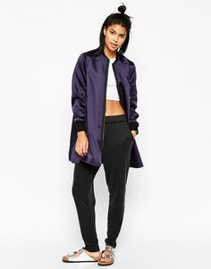 Image 4 of ASOS Longline Bomber in Satin Fabric