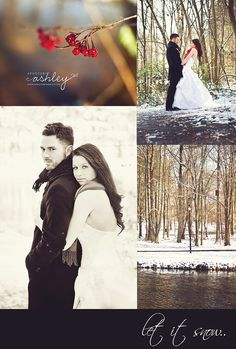 Couple in Snow - Winter Session -Wedding - Christmas Wedding - Snowy Session - Bride and Groom in Snow @Ashley Walters Turner {A Photo by Ashley}