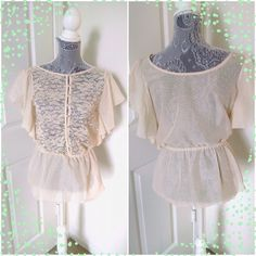 Sheer boho blouse Gently worn, sheer cream blouse from Francesca's. Elastic waist and front buttons. Perfect boho look! Worn only once or twice. Small stain on sleeve, see second photo. Tag is worn so can't read size, but should be small. Francesca's Collections Tops Blouses