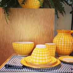 Handmade yellow gingham ceramics