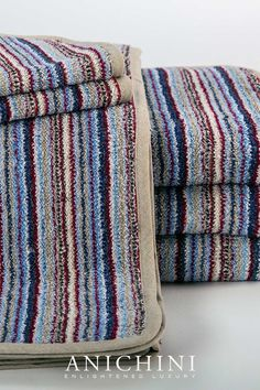 The Vilnius Multi Stripe towels are constructed from upcycled colored linen remnants. They are a 100% linen terry towel. Linen terry is stiffer than cotton making it the perfect invigorating exfoliant. These are the ultimate eco luxury towel. #luxurybathroomdecor#modernrusticbathroomdecor #linenbathtowels #ecoluxuryhome