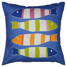 Bring a pop of coastal style to your sofa or favorite reading nook with this eye-catching linen pillow, featuring a charming striped fish motif....