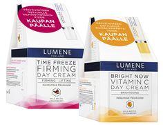 LUMENE HUIPPUETU! Kaupan päälle silmänympärysvoide! Bright Now Vitamin C Heleyttävä Päivävoide 50 ml + Heleyttävä Silmänympärysvoide 15 ml 19,90 (Arvo 39,80) tai Time Freeze Kiinteyttävä Päivävoide 50 ml + Kiinteyttävä Silmänympärysvoide 15 ml 24,90 (Arvo 49,80) Rajoitettu erä.