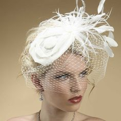 natural hair with veil | NEW* - Sinamay Hat with Feathers & French Net Veil
