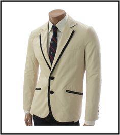 Beige Mens Casual 2 Button Blazer Jacket