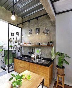 Small kitchen design and ideas for your small house or apartment, stylish and efficient. Modern kitchen ideas - with island and storage organization kitchen industrial Small Kitchen Ideas : with Island & Cabinets Kitchen Island Storage, Outdoor Kitchen Cabinets, Outdoor Kitchen Design, Dirty Kitchen Design, Dirty Kitchen Ideas, Modern Cabinets, Kitchen Islands, Storage Cabinets, New Kitchen