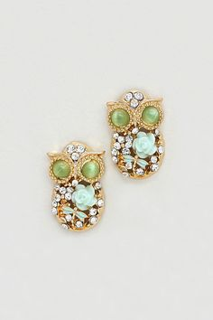 Cameo Owl Earrings in Mint