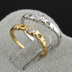Fashion Simple Style Copper Finger Ring Inlay White Zircon Rings Two Colors for Women